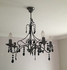 BLACK CHANDELIER DROPLET 5 ARM CEILING LIGHT/ LIGHT FITTING