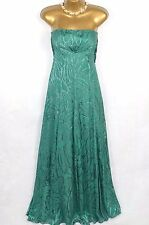 MONSOON Green silk blend strapless maxi dress ballgown uk 8