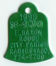 Rare Genuine Vintage Unused Pretty Green Bell Shaped Dog Pet Vaccination Tag