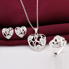 925Sterling Silver Crystal Heart Pendant Women Necklace Ring Earrings Set S743
