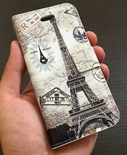 For iPhone SE 5S - LEATHER CARD WALLET FLIP POUCH CASE COVER PARIS EIFFEL TOWER