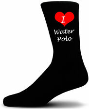 I Love WaterPolo Socks.  Black Cotton Socks.