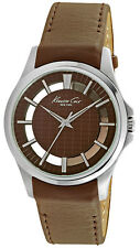 Kenneth Cole New York Men's Transparency S Steel w/ Brown Leather Watch 10022289
