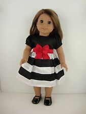 Cute Dress in Black & White Stripes & Red Belt for 18 Inch Dolls