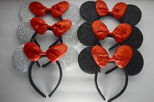 6-Minnie-Mickey Mouse Ear Headband Sequin Red Bows Sparkle Shimmer Party Favors