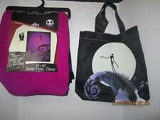 The Nightmare Before Christmas Purple Jack Plush Throw Blanket  46 X 60 & TOTE