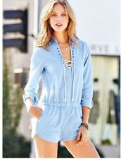 Victoria's Secret Moda International Bodysuit Romper Cotton Laces Blue 6 NWT