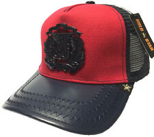 NEW GOLD STAR /RED/NAVY-LEATHER DR COAT OF ARMS TRUCKER HAT GOLD STAR