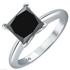 1CT Spectacular Princess Cut Black AAA Diamond 14K WG Solitaire Bridal Ring