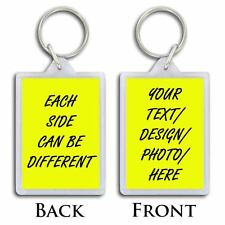 PERSONALISED KEYRING - CREATE YOUR OWN KEYCHAIN BAG TAG HIGH QUALITY PHOTO GIFT