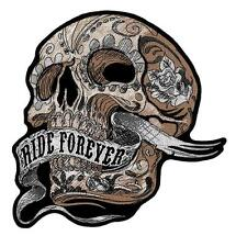 Ride Forever Tattoo Banner Skull Embroidered Biker Patch Iron or Sew HLPM12618