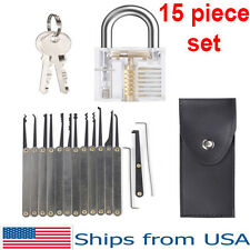 Transparent Lock Practical Unlocking Tools Locksmith Locks 15 Piece Pick Set