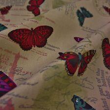 Tela de Lona de piedra con mariposas y texto (por Metro)