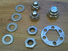 LAMBRETTA SX/GP/TV STAINLESS STEEL FRONT HUB NUTS AXELWASHERS  REAR HUB KIT. NEW