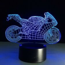 LED 3D Illuminated Illusion Light Desk Micro USB MOTOR BIKE 7 ColorChange