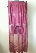 NWT MATERIAL GIRL LACE BOHO FESTIVAL LACE ASYMMETRICAL MAXI SKIRT RED SIZE M