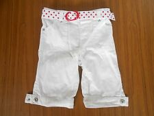 Early Days girls' white jeans with white and red spotted belt, 12-18 months
