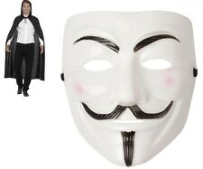 UNISEX V FOR VENDETTA FACE MASK & CAPE ANONYMOUS HALLOWEEN FANCY DRESS COSTUME