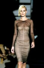 Gucci Tom Ford S'01 Runway ASO Kate Moss NWT Black Nude Tulle Corset Dress 40IT