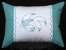 New Embroidered Fancy Fish on Caribbean Blue Accent Pillow New 12 x 16 in insert