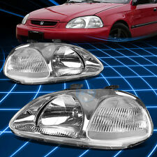 Fit 1996-1998 Honda Civic ek JDM Chrome Housing Clear Corner Headlights Lamp