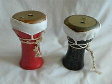 2 Mini Egyptian Ceramic Drum-Tabla- Doumback Goat Skin Black Green Brown 5.25""