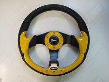 D1 RACE FLAT 320mm PU LEATHER STEERING WHEEL YELLOW FIT OMP MOMO NARDI SPARCO BF