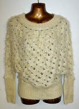 One Size Beige Fluffy Crochet Knit Sparkle Sequin Batwing Jumper NEW with Tag