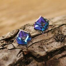 Bermuda Blue Crystal Sterling Silver Stud Earrings Use Swarovski Element 3D Cube