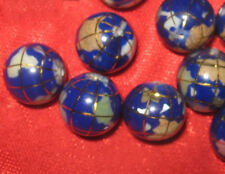 WHOLESALE LOT OF 8 -10MM BLUE GEMSTONE INLAY WORLD GLOBES GLOBE BEADS