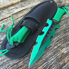 "3Pc 7.5"" Ninja Tactical Combat Green Kunai Throwing Knife Set w/Sheath Hunting"