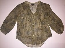 Anthropologie Fei Cavorting Flora Silk Blooms Floral Pintuck Button Top Blouse 2