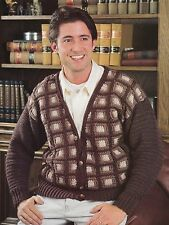 HANDSOME Men's Cardigan Sweater/Apparel/ Crochet Pattern Instructions