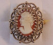Vintage 10k Solid Yellow Gold Carved Shell Cameo Ring  *Size 8*