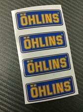 4 Adesivi Sticker OHLINS Blu e Giallo 43 x 15 mm