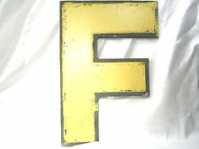 "VINTAGE INDUSTRIAL SALVAGE BIG LARGE WALL MARQUEE LETTER 'F'  METAL 10"" tall"
