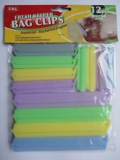 12 Bag Clips Reusable Tie Plastic Storage Sealing Fridge Freezer Food Fresh