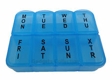 7 Day Rectangle Plastic 8 Compartments Pill Container Case Organizer PINK / BLUE