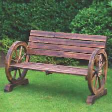 STYLISH GARDEN BURNT WOODEN WAGON WHEEL 2 SEATER BENCH HIGH QUALITY NEW