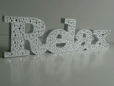 NEW WHITE RELAX WOODEN DIAMANTÉ sign plaque ornament bathroom freestanding.