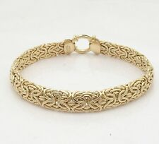 Mirrored Domed Shiny Byzantine Link Bracelet Real 14K Yellow Gold 10.10gr
