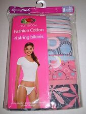 FRUIT OF THE LOOM COTTON HIPSTER STRING BIKINI PANTIES 4 PACK 8 EXTRA LARGE XL