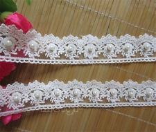 1 yard Vintage Cotton Pearl Lace Edge Trim Wedding Ribbon Applique Sewing Crafts