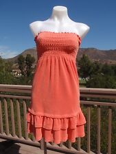 Juicy Couture women's petite coral terry cloth strapless swimsuit cover-up dress