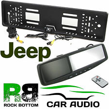 """JEEP 4.3"""" Rear View Reversing Mirror Monitor & Car Number Plate Camera Kit"""