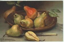 VINTAGE PEARS PEAR TREE FRUITS BOSC BARTLETT BOWL KNIFE POSTCARD ART LITHO PRINT