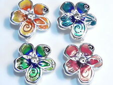 4 - 2 HOLE SLIDER BEADS SILVER PLATED BRIGHT MULTI COLOR ENAMEL SPRING FLOWERS