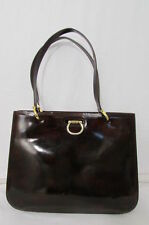 AUTHENTIC CELINE PARIS WOMEN BROWN SHINY LEATHER HANDBAG GOLD HARDWARE VINTAGE