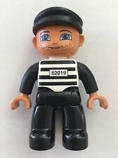 *NEW* Lego DUPLO Male PRISONER Black White STRIPES Top BLACK Legs & CAP 62019