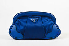 Prada Navy Blue Nylon Textured Leather Trim Pleated Frame Clutch